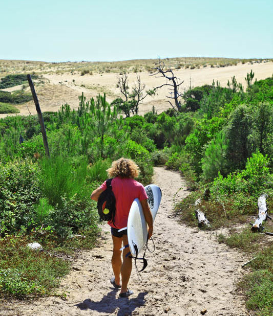 Surf à Messanges, plage sauvage sur la côte sud des Landes