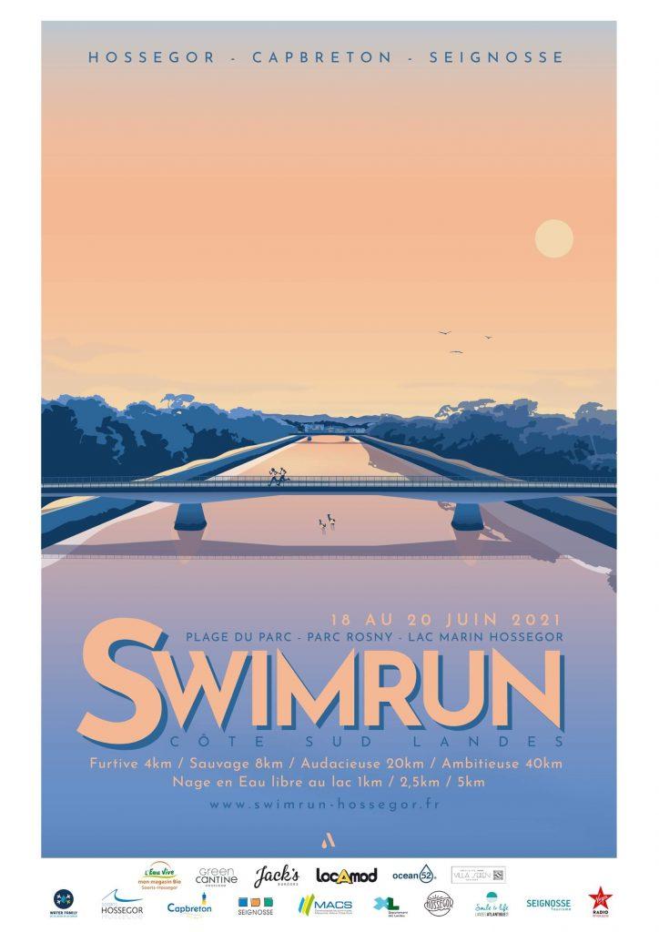Affiche Swimrun Cote sud Landes Capbreton Hossegor Seignosse 2021