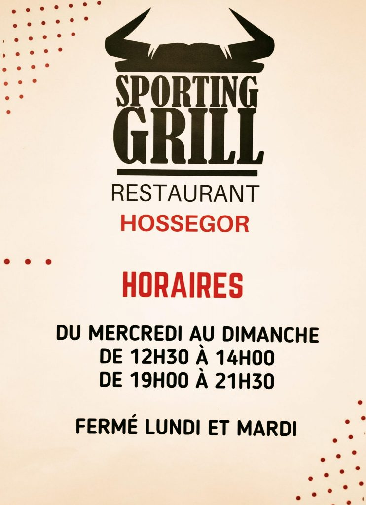 affiche horaires sporting grill