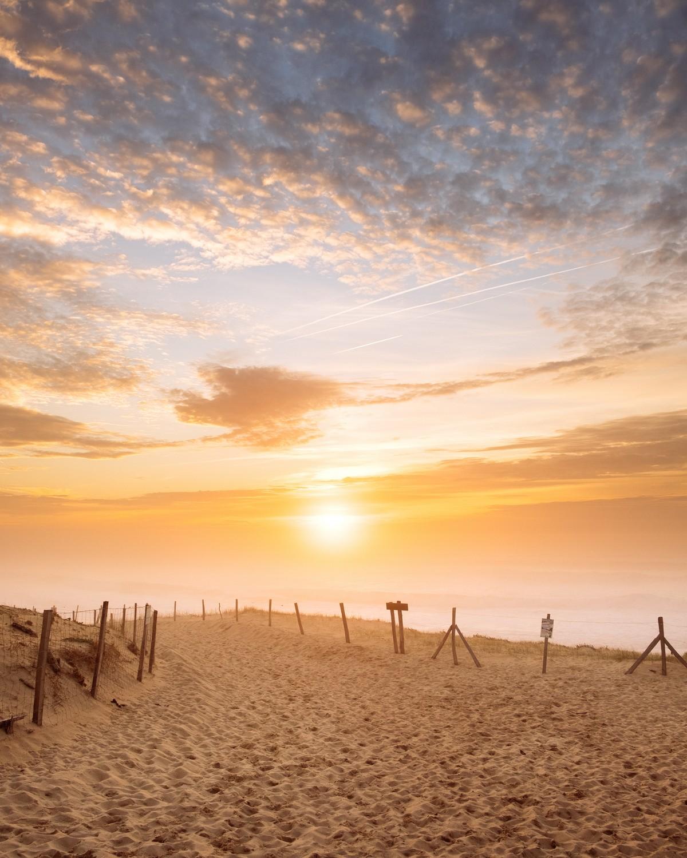 Coucher de soleil sur la plage de Seignosse