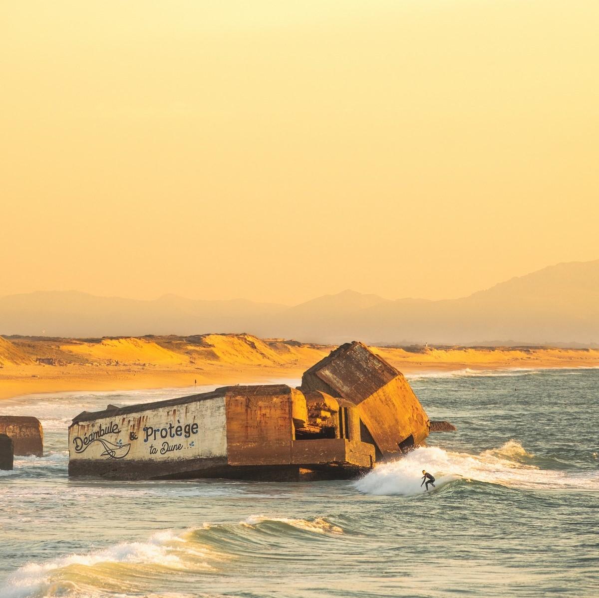 capbreton surf à santocha au coucher de soleil